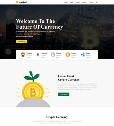 大气虚拟加密货币金融企业html静态网站模板