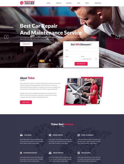 大气汽车维修服务公司html网站模板