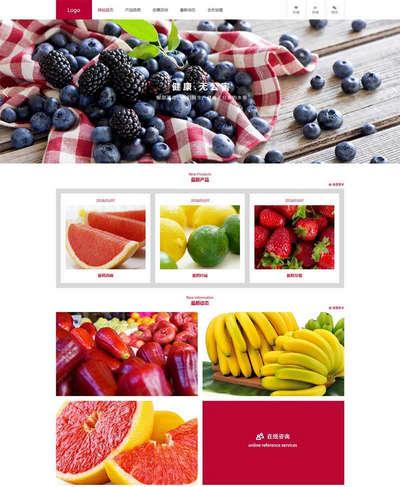 红色水果销售加盟公司html网站模板