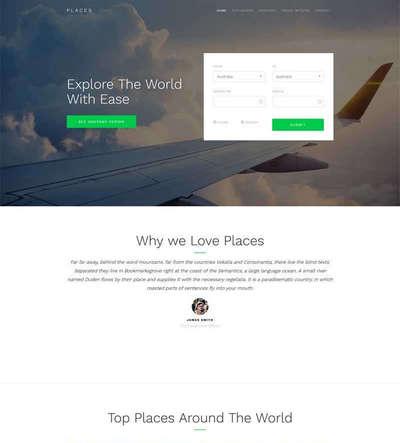 宽屏旅游机票在线预订html静态网站模板