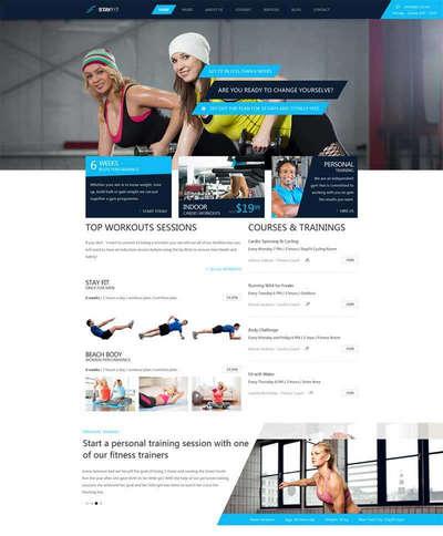 蓝色Bootstrap健身房私教课程html网站模板
