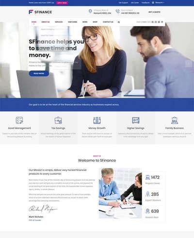蓝色大气的商务金融投资行业html网站模板