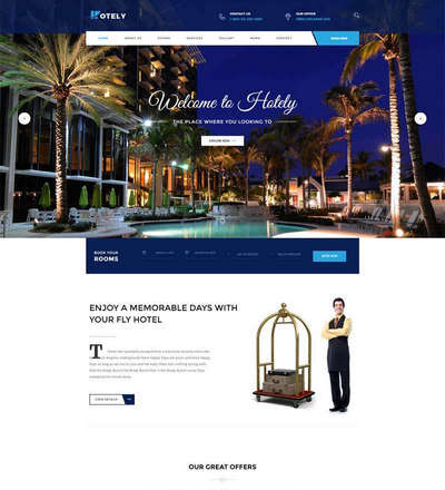 蓝色宽屏度假酒店预订官网html网页模板
