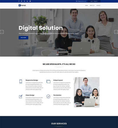 蓝色宽屏商务解决方案服务公司网