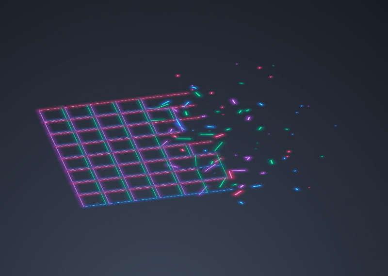 酷炫的线条网格碎片动画特效