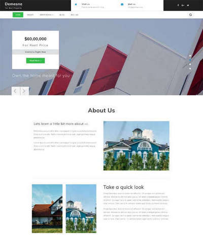 绿色别墅房产销售公司html静态网页模板