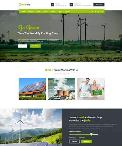 绿色宽屏节能环保公益宣传html网站模板