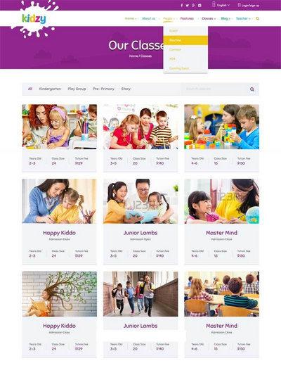 紫色卡通风格儿童教育培训网站模板下载