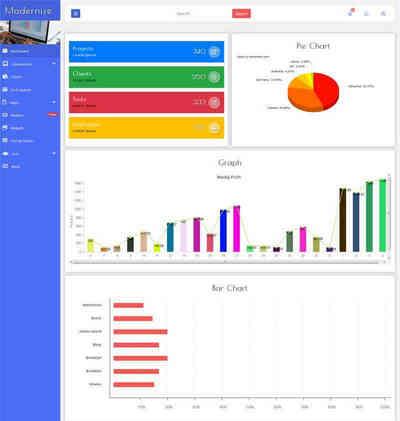 html5响应式图表统计管理后台模