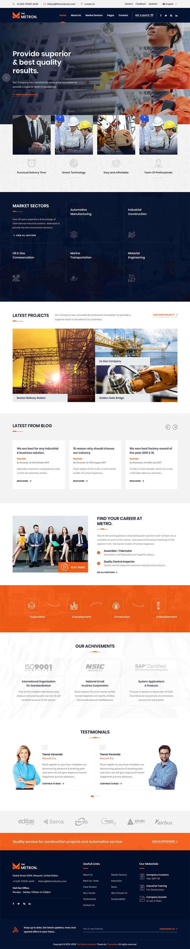 大气的港口工业工程企业网站html模板