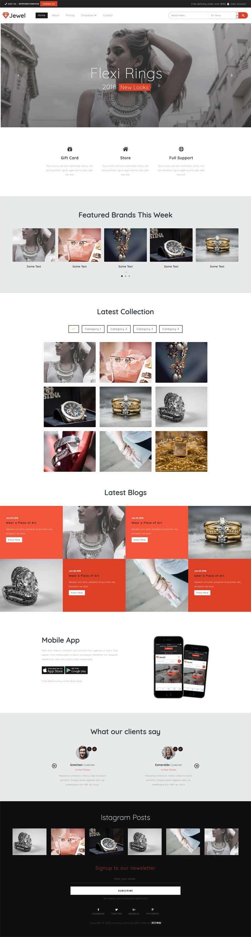 大气的珠宝首饰品牌企业官网模板