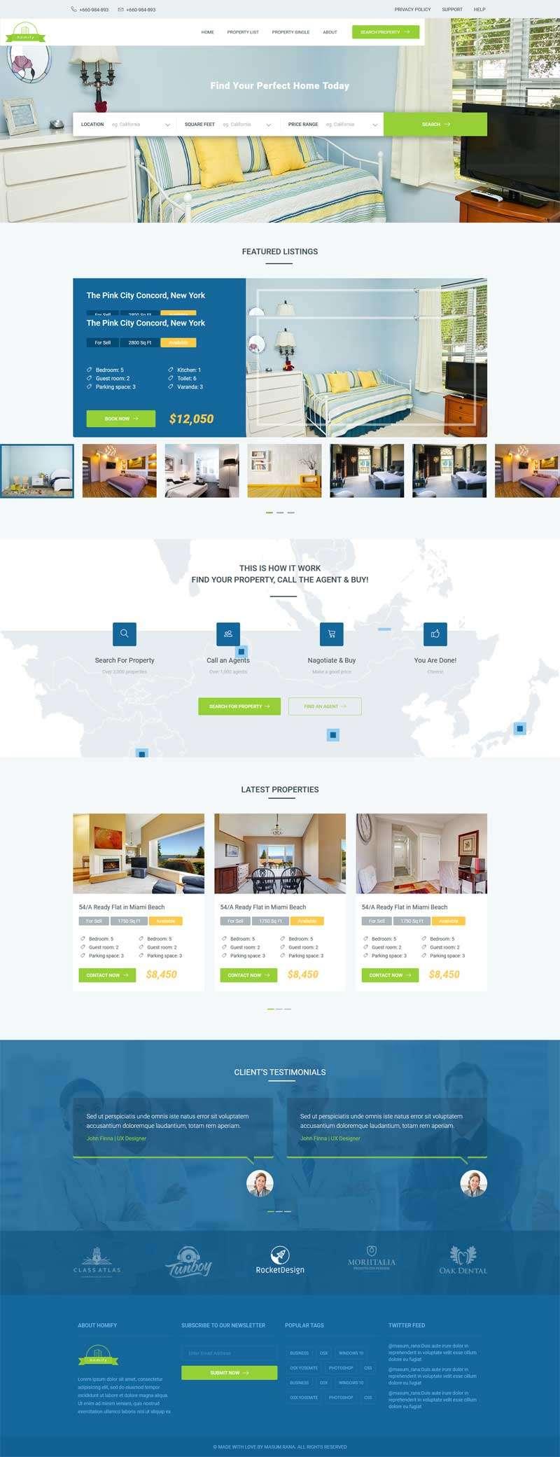 绿色的二手房屋租赁交易平台网站模板