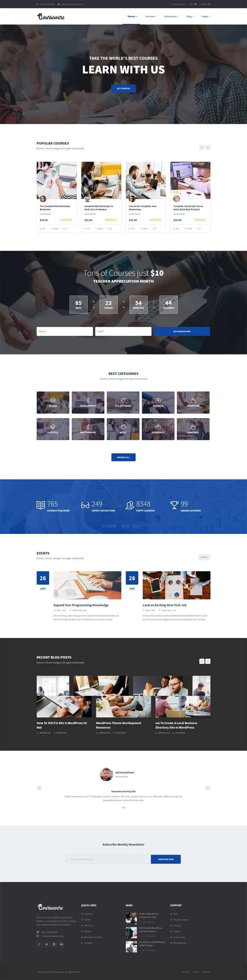 响应式在线课程教育bootstrap网站模板