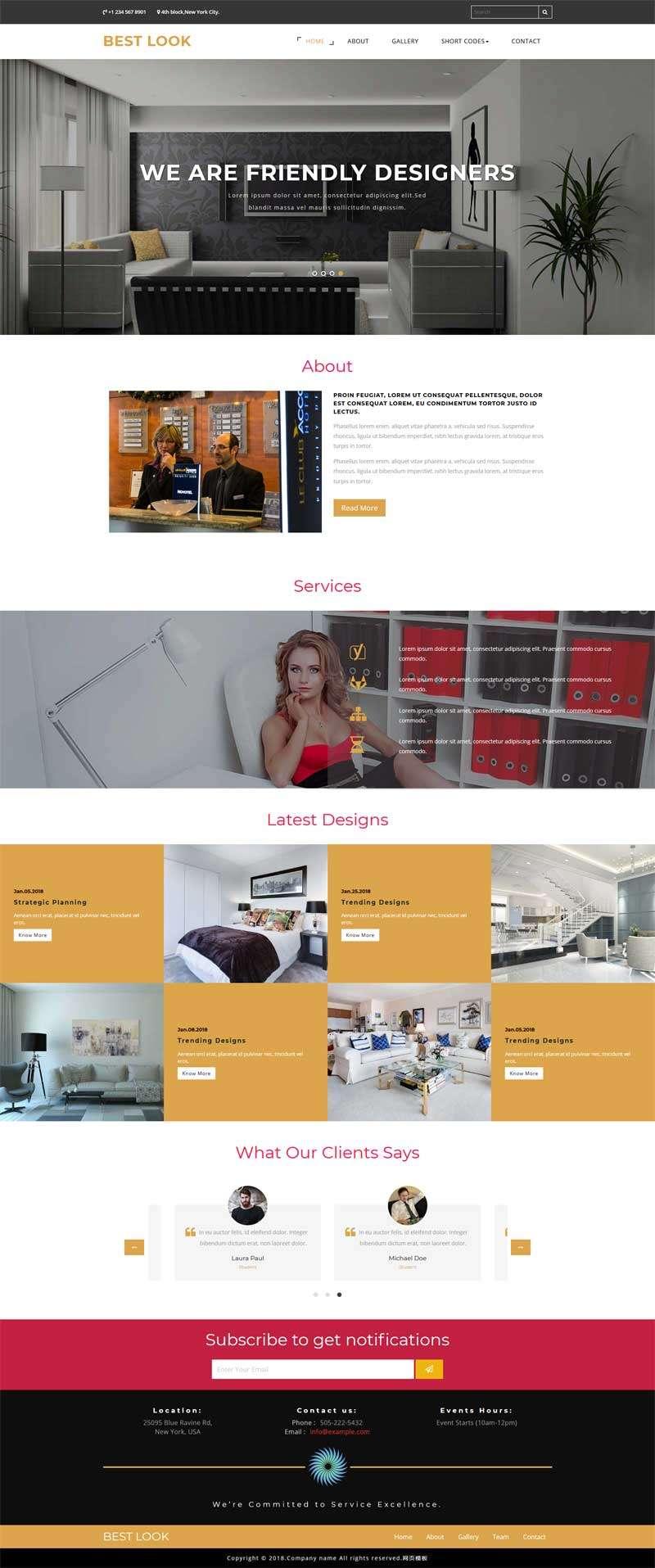 大气的室内装饰公司网页静态模板
