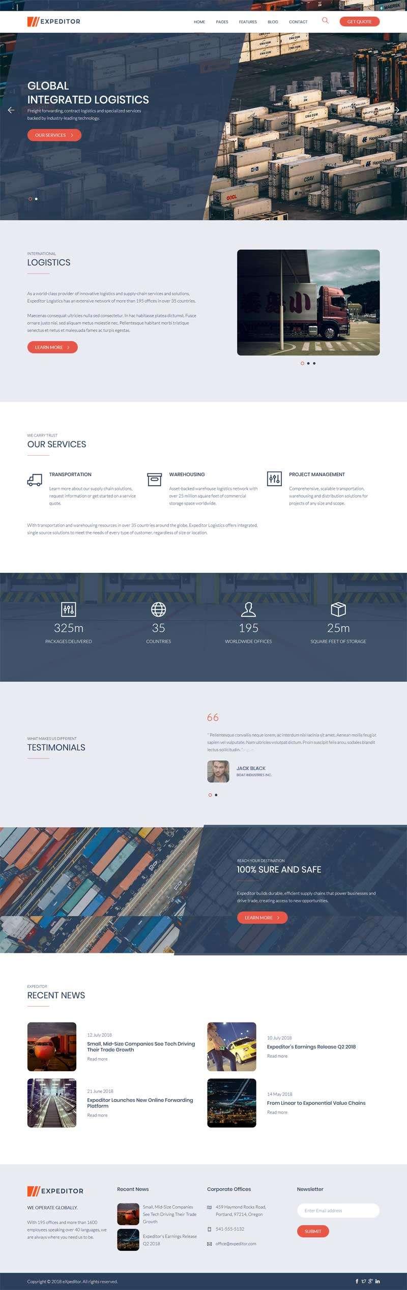 大气响应式的物流货运公司HTML5模板