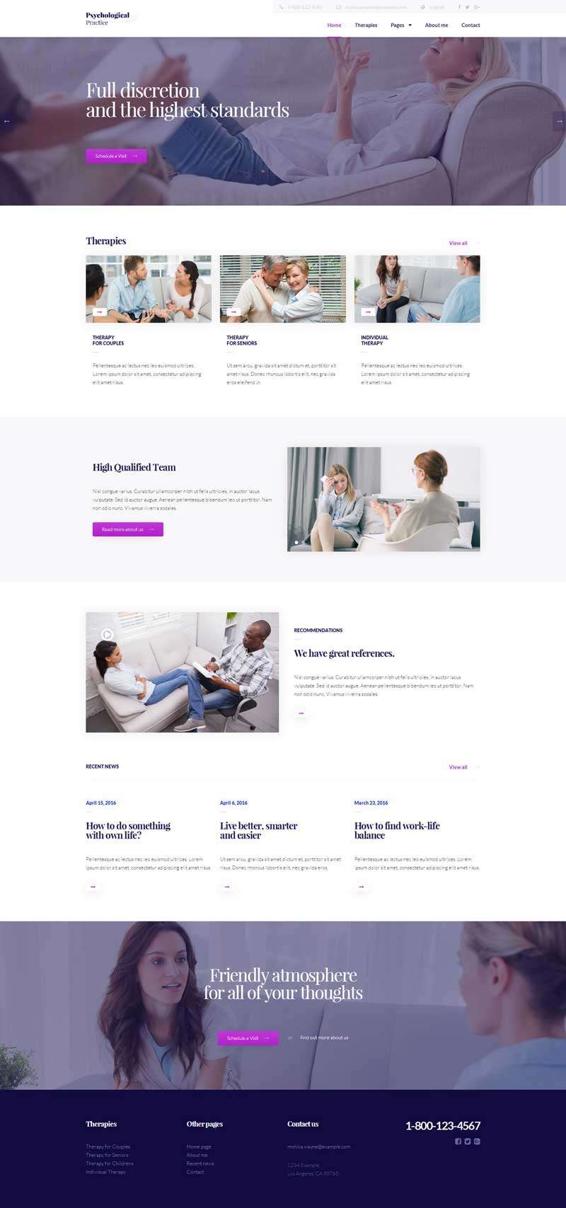 html5心理咨询服务网站模板
