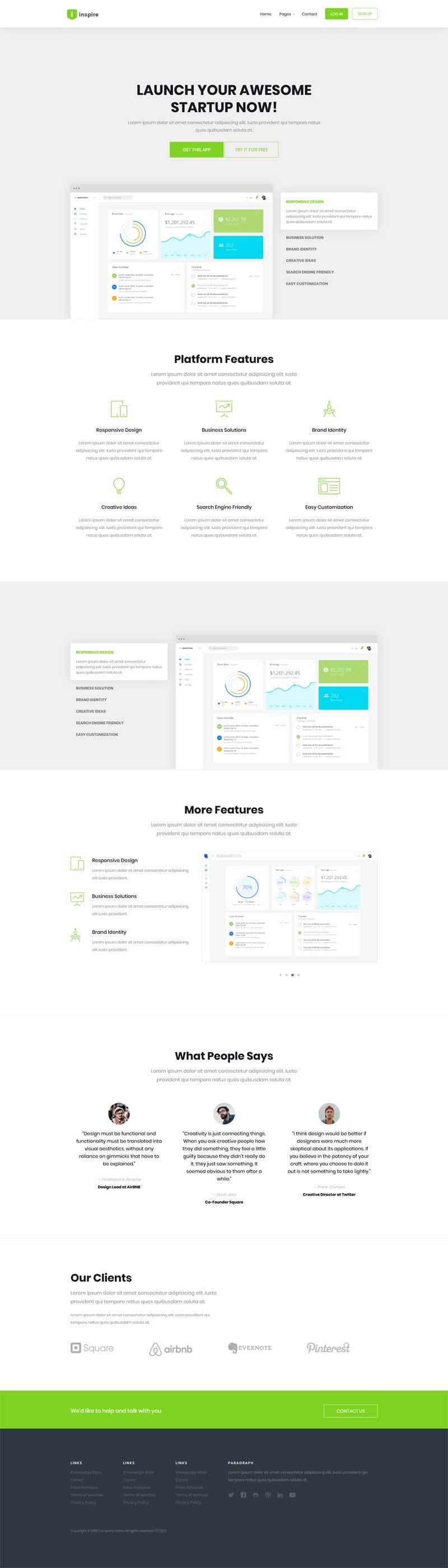 绿色的软件开发数据分析网站模板