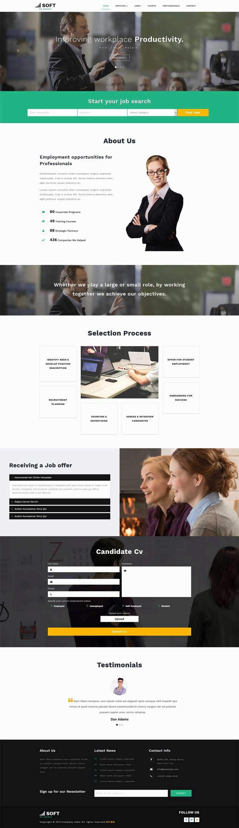 绿色的商务英语课程培训机构网站模板