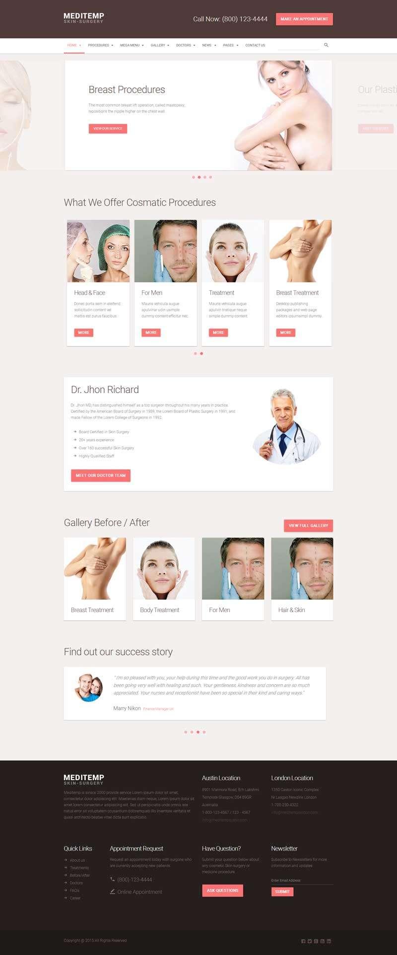 大气的女性整形美容医院网站模板