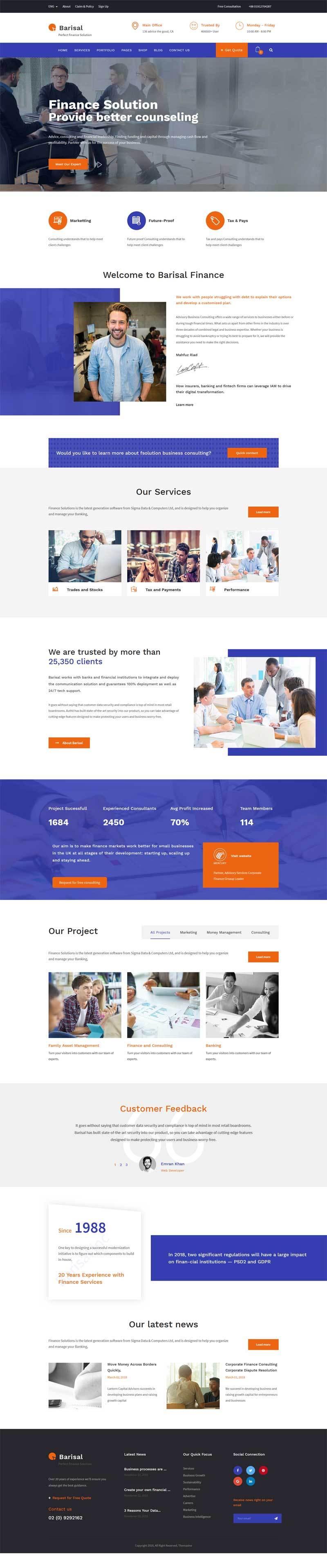 响应式的商业金融投资服务咨询公司网站模板