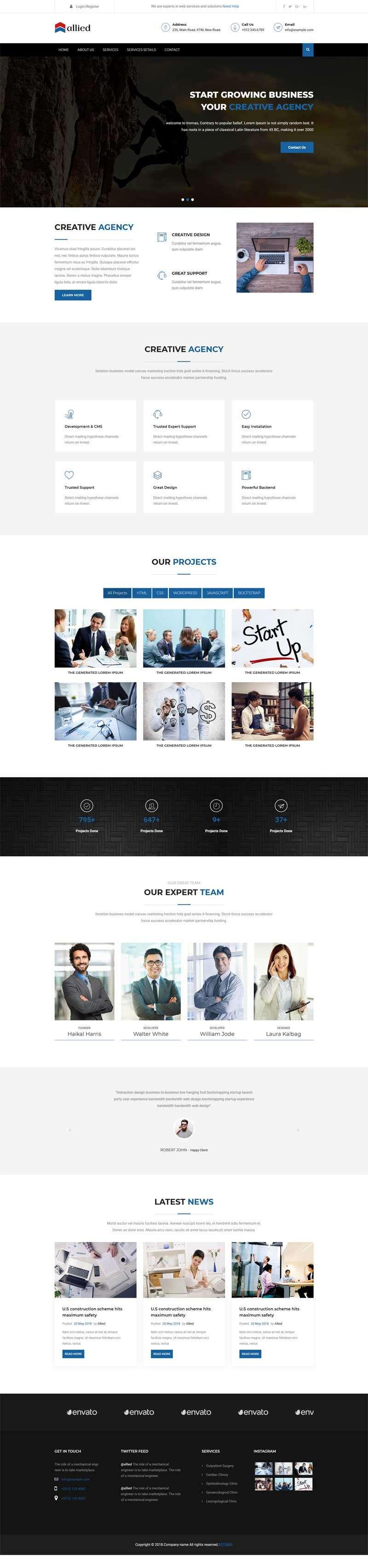 黑色响应式的商务金融咨询网站模板