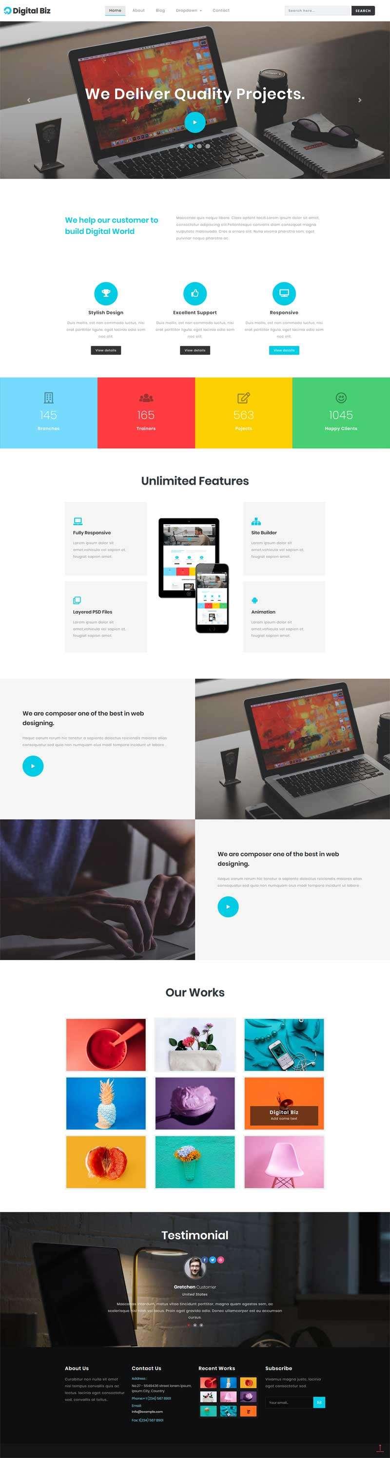 宽屏的商务科技公司网站html5动画模板