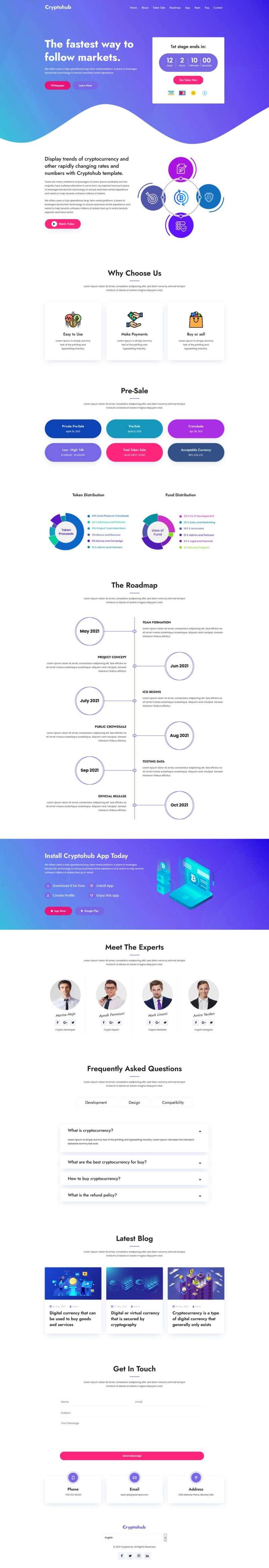 虚拟货币交易介绍HTML模板
