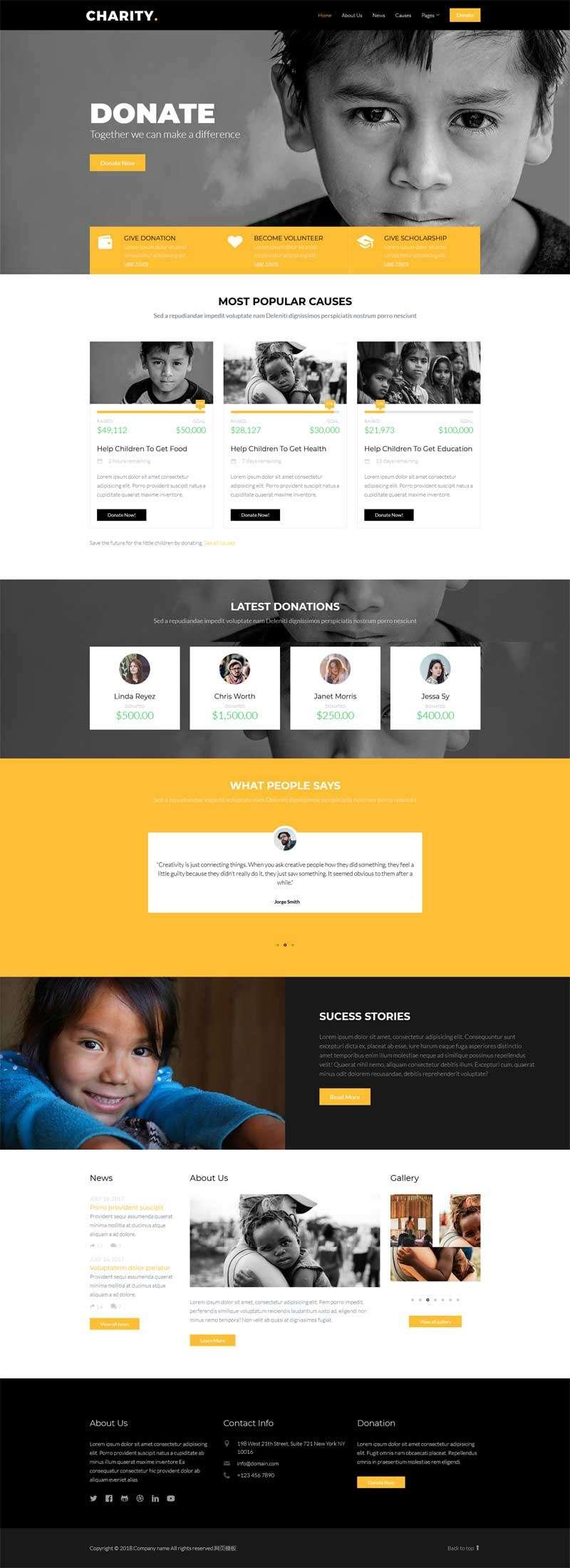 儿童慈善救助基金公益网站模板