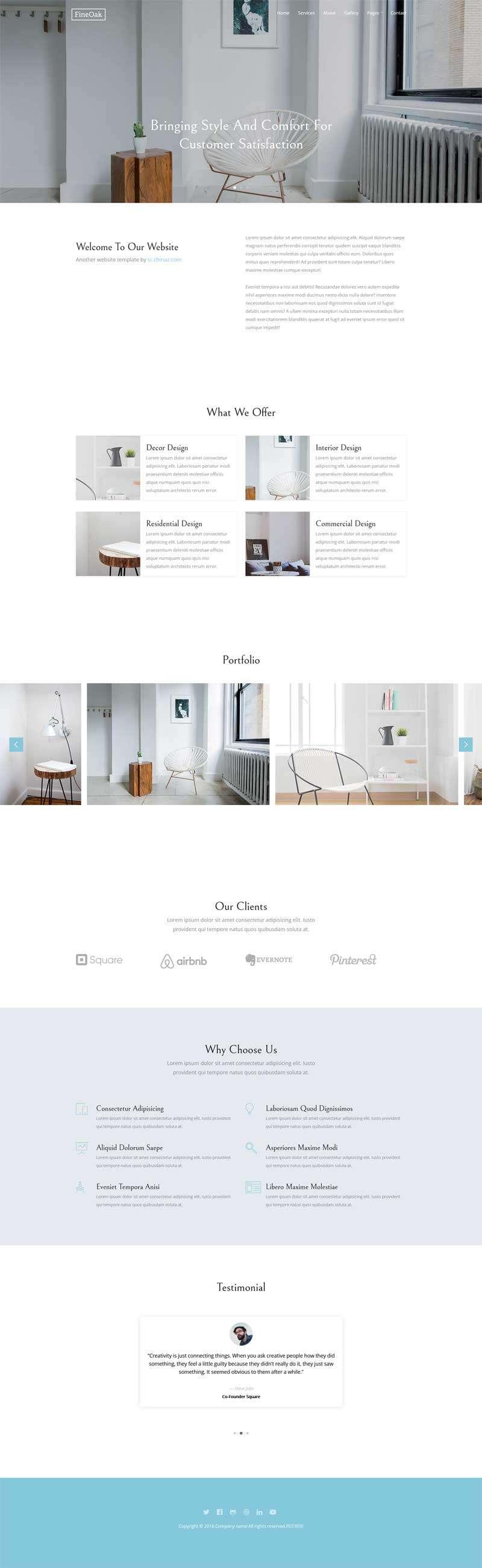 简洁的创意家居网站响应式模板