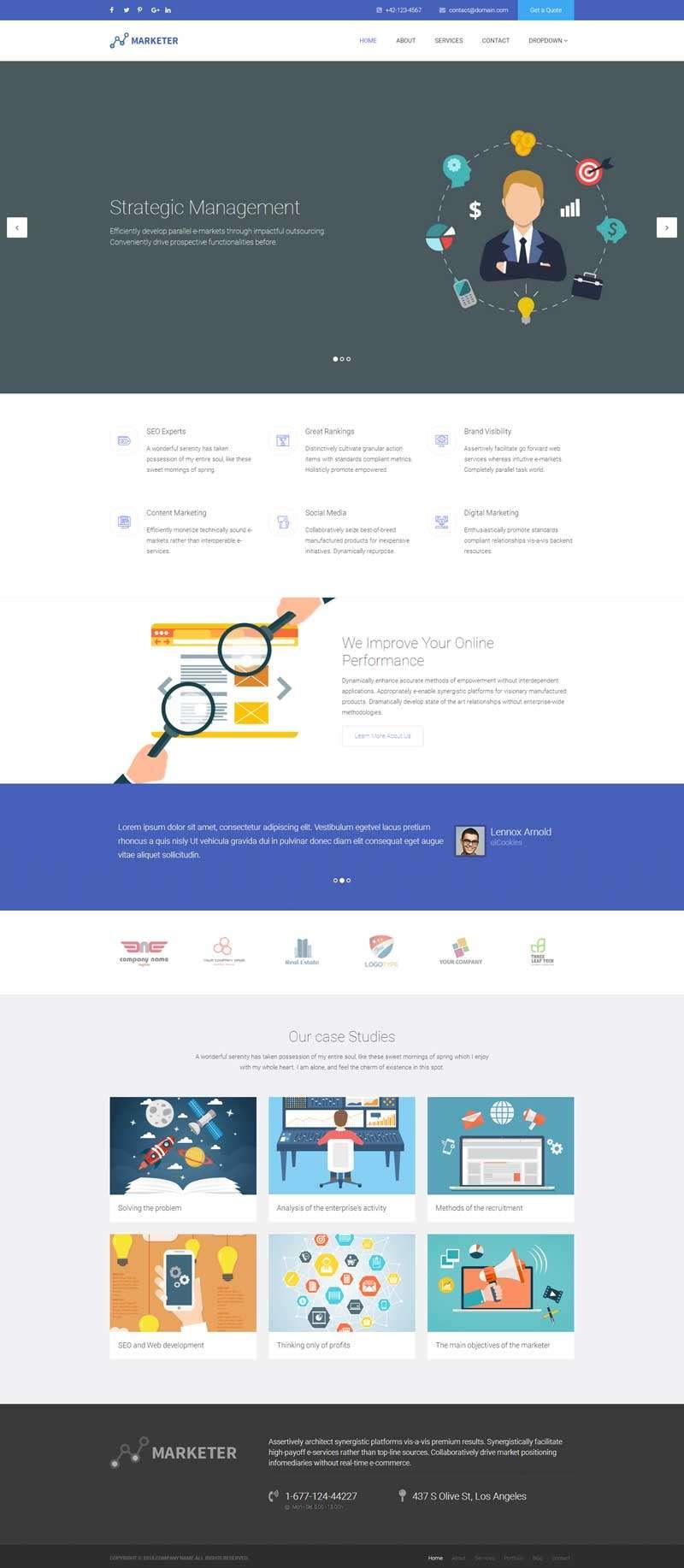 宽屏的网络营销推广服务公司网页模板