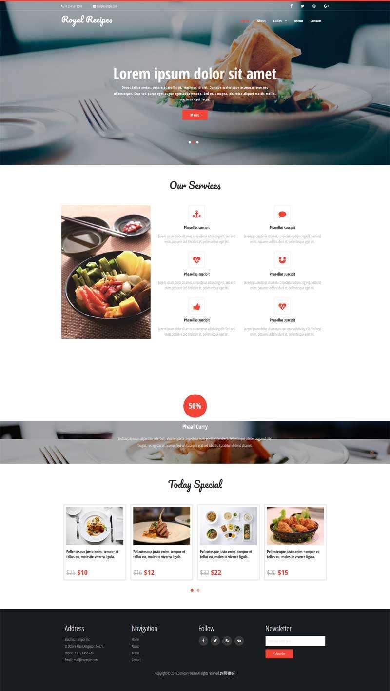 红色的美食餐厅预订网站模板