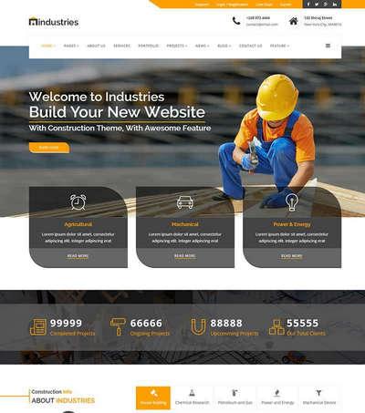 橙色宽屏建筑工程行业html静态网站模板