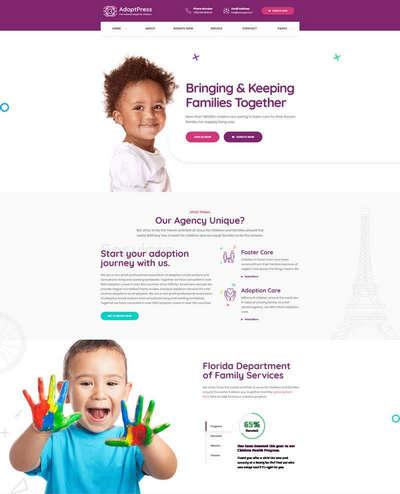 卡通儿童收养机构公益网站html模