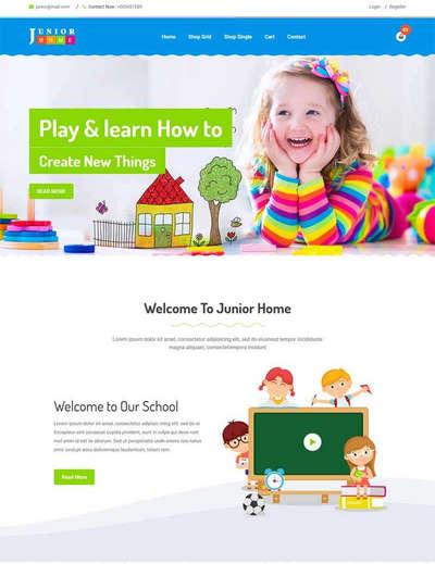卡通幼儿园教育学校html静态网站