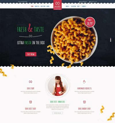 卡通风格儿童餐饮美食料理html网站模板