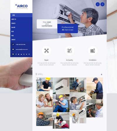 蓝色空调安装维修服务公司html网站模板