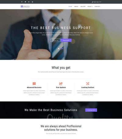 宽屏商务咨询商业方案公司网站模板