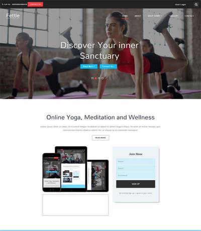宽屏瑜伽健身俱乐部网站模板