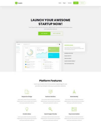 绿色软件开发数据分析html静态网站模板