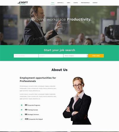 绿色商务英语课程培训机构网站模板