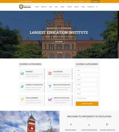 响应式大学生选修课程教育培训网站模板