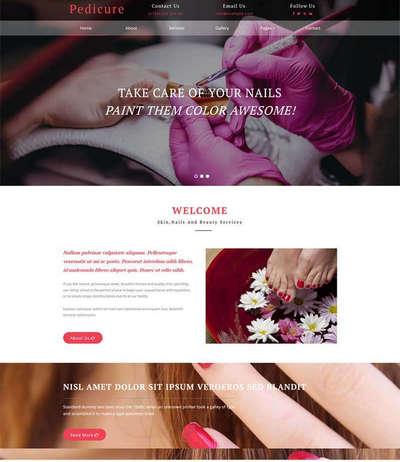 粉色美容美甲店学校静态html网站模板