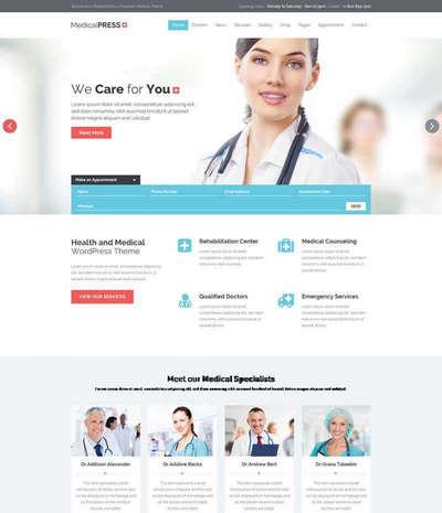 蓝色健康医疗服务网站html模板