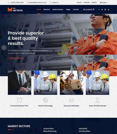 大气港口施工工程建筑企业html网站模板