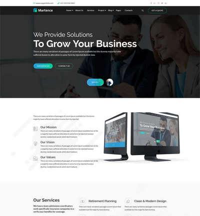 宽屏互联网商业服务公司网站Bootstrap模板