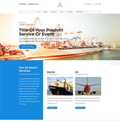 宽屏港口海运集装箱物流公司网站模板