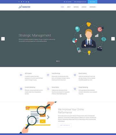 宽屏网络营销推广服务公司html网页模板
