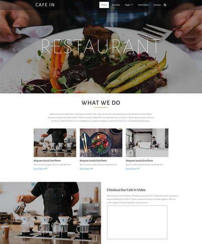 宽屏国外咖啡店餐馆html静态网站模板