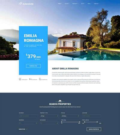 蓝色大气房地产楼盘销售平台网站模板