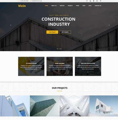 大气建筑装修设计公司网站html模板